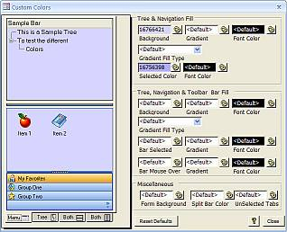 AccessUI for Microsoft Access Administration Tools Color Settings