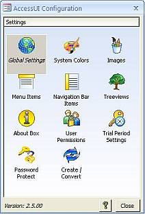 AccessUI for Microsoft Access Administration Tools Menu